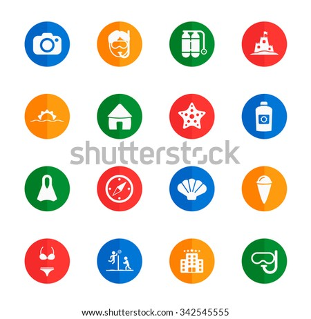 Beach flat icons for media
