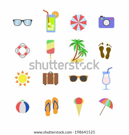beach holiday icons. Summer icons set. Vector - stock vector