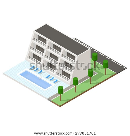 Beach hotel isometric icon set vector graphic illustration