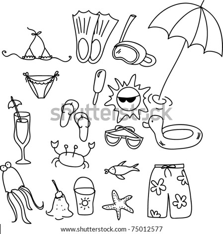 beach icon set,  children drawing, black and white coloring - stock vector