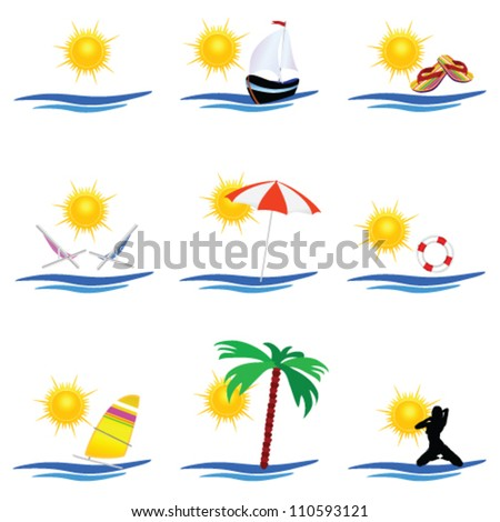 beach icon summer vector on a white background - stock vector