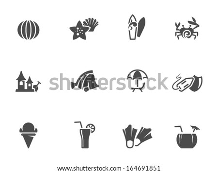 Beach icons in single color - stock vector