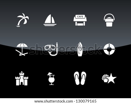 Beach icons on black background. Vector illustration.