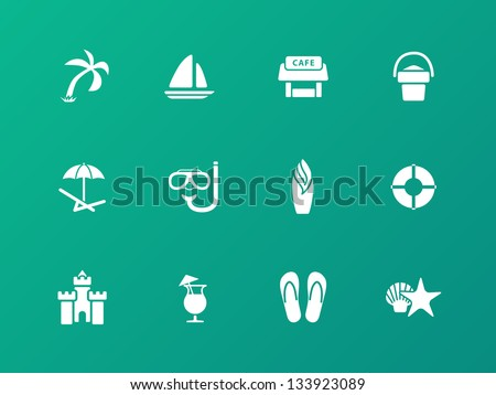 Beach icons on green background. Vector illustration. - stock vector