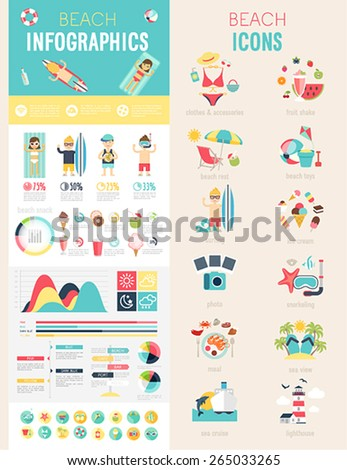 Beach Infographic set with charts and icons. Vector illustration. - stock vector