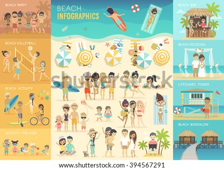 Beach Infographic set with charts and other elements. Vector illustration. - stock vector