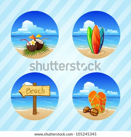 beach item set - stock vector