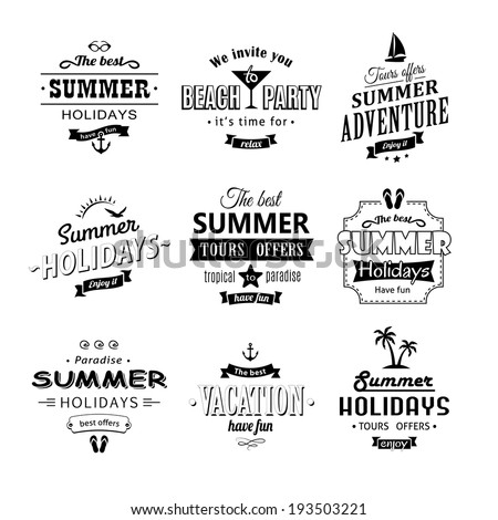 Beach labels set on white eps8 - stock vector