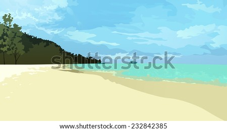 Beach Landscape, vector eps10 illustration - stock vector