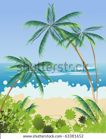 Beach Landscape With Palm Trees