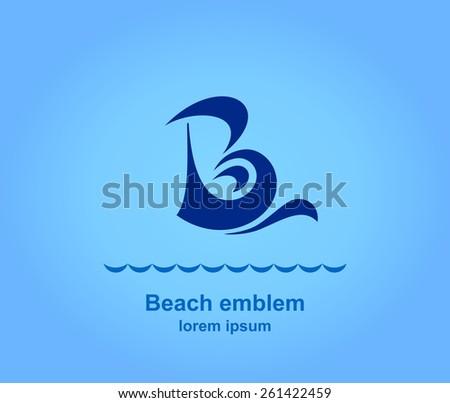 Beach logotype design template, Stylized business logo idea, Vector illustration Eps 10 - stock vector