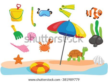 beach object cartoon design - stock vector