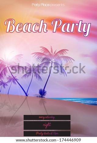 Beach Party Design Template - Vector Illustration - stock vector