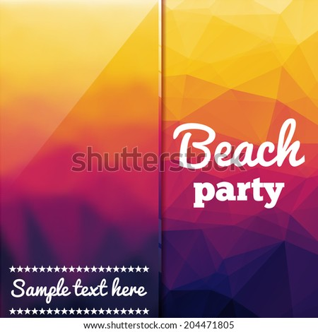 Beach party flyer with triangular background - stock vector