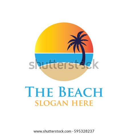 Beach Resort And Summer Theme Logo Design Template