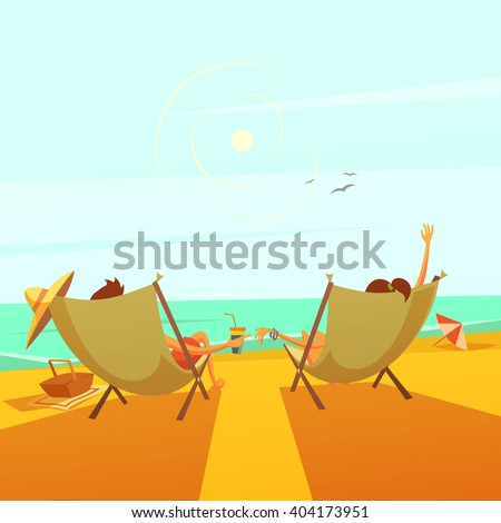 Beach rest background with a couple in chaise lounges at sea cartoon vector illustration   - stock vector