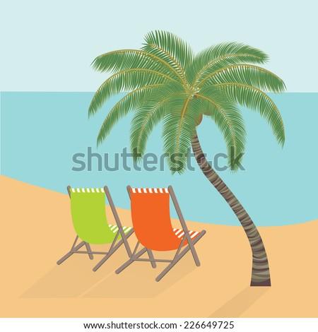 Beach rest under a palm tree. Vector Illustration EPS10. - stock vector