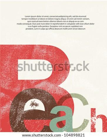 Beach. Retro grunge typographic poster. - stock vector