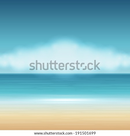 Beach sea with clouds summer holidays vector background. - stock vector