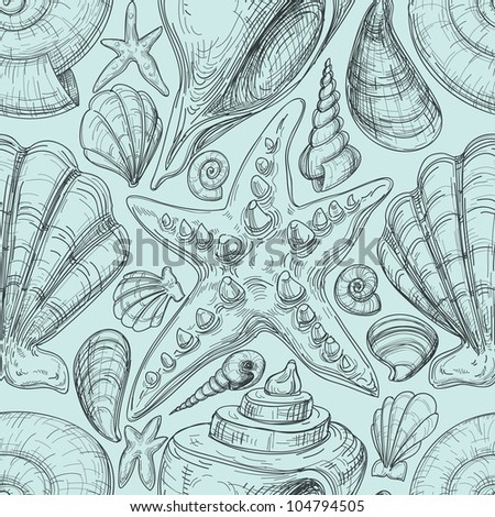 Beach seamless pattern with shells and starfish sketch - stock vector