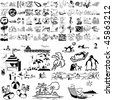Beach set of black sketch. Part 105-2. Isolated groups and layers. - stock vector