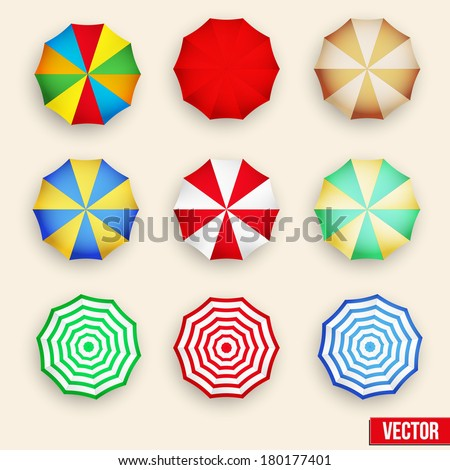 Beach set symbols of sun umbrellas. Summer sunny parasol. all inclusive vacations, summer vacation, travel, travel agency, vacation, vacation packages, vacation rentals. - stock vector