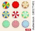 Beach set symbols of sun umbrellas. Summer sunny parasol. Vector, eps10. - stock photo