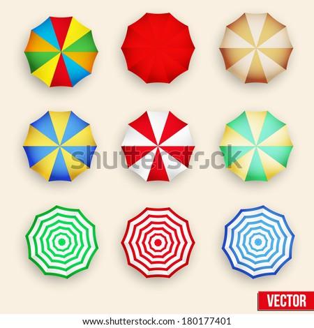 Beach set symbols of sun umbrellas. Summer sunny parasol. Vector, eps10. - stock vector