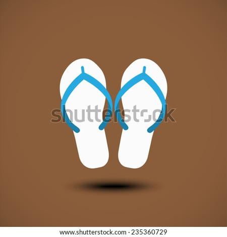 Beach Slippers Icon - stock vector