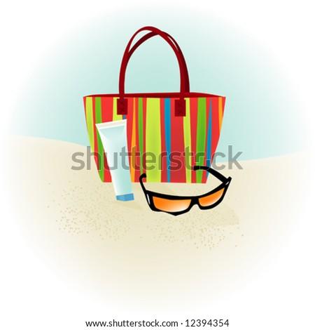 Beach Spot Illustration: beach bag and sunglasses - stock vector