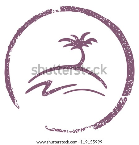 beach stamp - stock vector