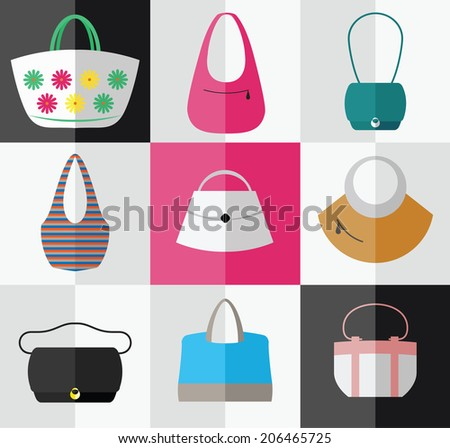 Beach style, casual, elegant, business bags for women. - stock vector