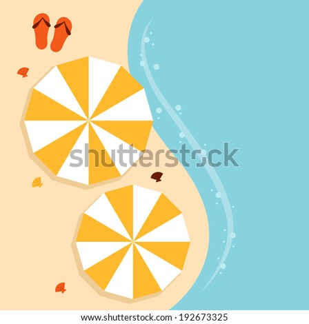 Beach summer background with umbrella  - stock vector