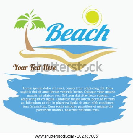 Beach Summer Flyer Design - Vector - stock vector