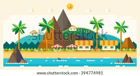 Beach summer landscape. Tourist huts on the coast, tourist village near the mountains. Vacation, relaxation, ocean, sun, palms. Vector flat illustration - stock vector
