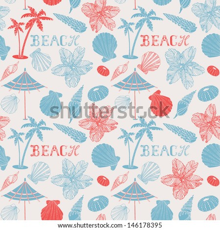 Beach. Summer vacation holiday card with palm tree and shells. - stock vector