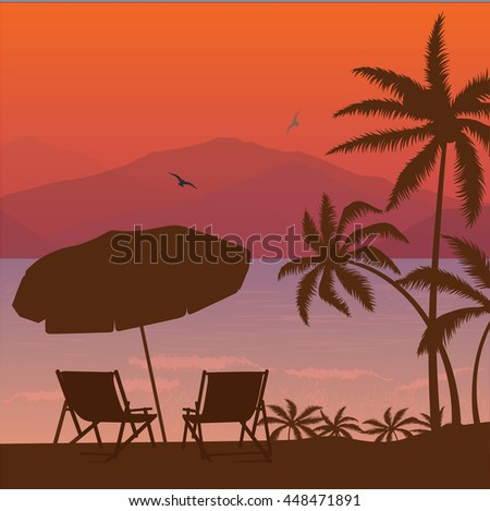 beach sunset two chair palm tree and umbrella silhouette