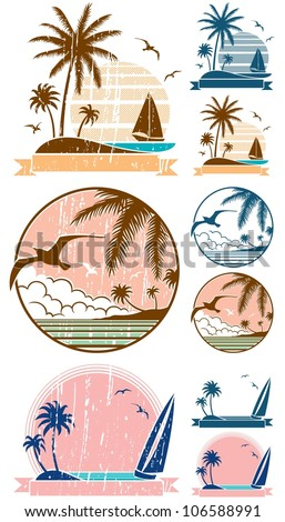 Beach Symbols: Set of 3 beach symbols + 6 additional versions (2 for each symbol). No transparency and gradients used. - stock vector