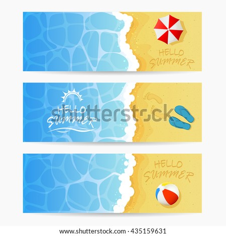 Beach theme, set of cards, inscription Hello Summer and ocean wave on a sandy beach with colored beach ball, flip flops with footprints and beach umbrella, Summer vacation on the beach, illustration.