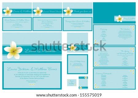 Beach themed frangipani Wedding stationary set in vector format. - stock vector