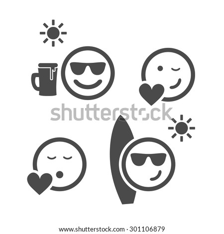 Beach Time and Love - Emoticon Set - stock vector