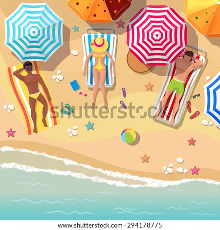 Beach top view background with sunbathers men and women. Umbrella and vacation travel, relaxation summer tourism, rest sea and sand. Vector illustration - stock vector