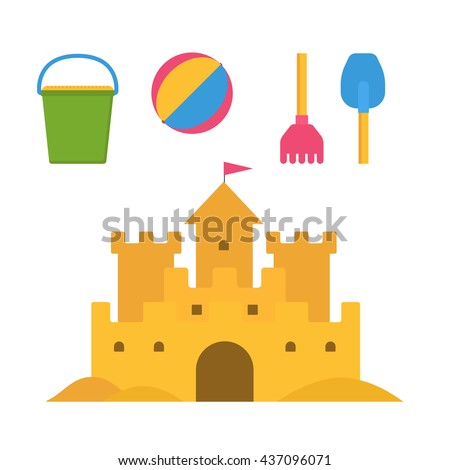 Beach toys and sand castle vector illustration. Child pail, shovel, ball and rake colorful icons. Children summer games and activities in flat design. Cartoon sandcastle image. - stock vector