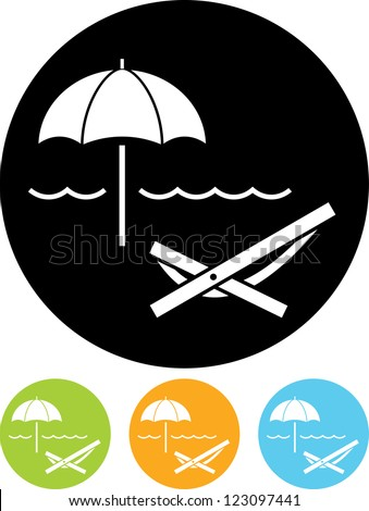 Beach Umbrella and Lounger - Vector icon isolated - stock vector