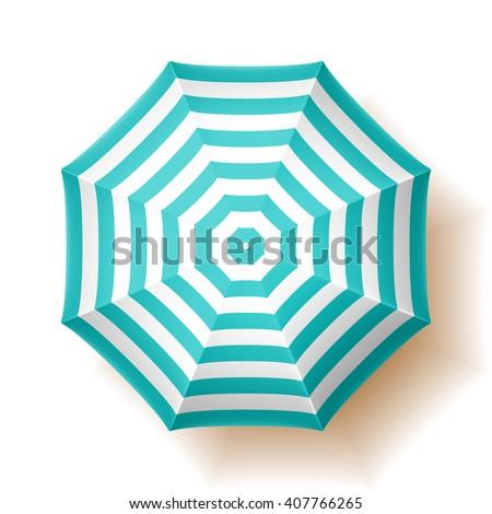 Beach umbrella, top view. Vector illustration.  - stock vector