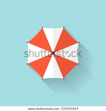 Beach umbrella web flat icon. - stock vector