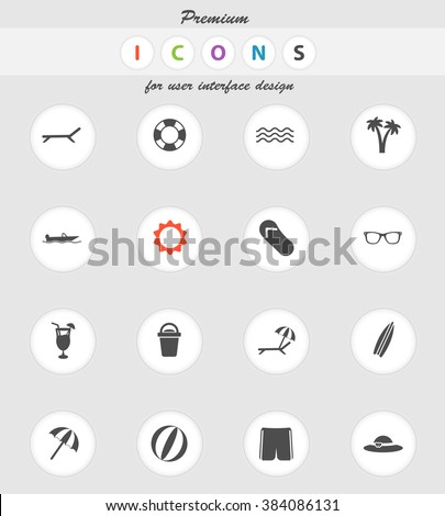 Beach vector icons for web sites and user interface - stock vector