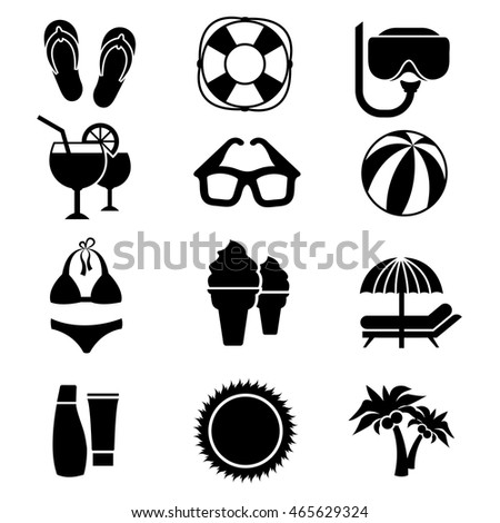 Beach Vector Icons Vacation Travel Signs Stock Vector 465629324