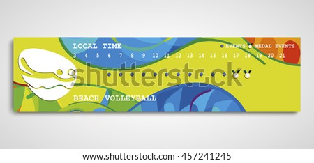 Beach volleyball cover schedule. 2016 Summer Games Icon. Timeline timetable Brazil Rio. Player icon. Sporting Championship . Gold medal event. Competition. Vector - stock vector