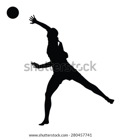 Beach volleyball player vector silhouette illustration isolated on white background.
